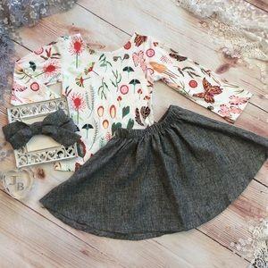Boutique Girls Floral & Gray 3pc Skirt Set